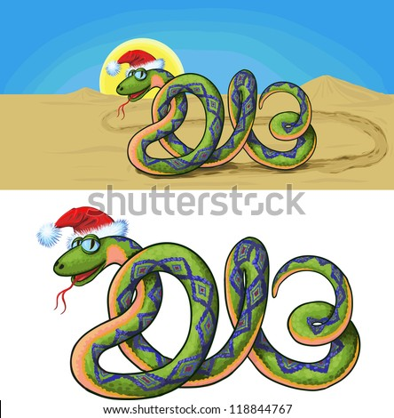 snake crawling through the desert, which is similar to the number in 2013. Raster version - stock photo