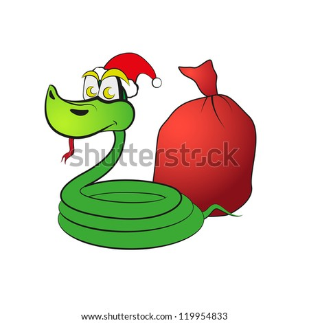 Snake in Santa Claus hat with gift. Raster version of the loaded vector. - stock photo