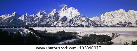 Snake River and Grand Tetons, Grand Teton National Park, Wyoming - stock photo