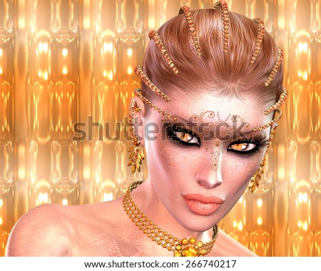 Snakeskin woman.  A fantasy digital art image of a magical woman with snakeskin, unusual eyes, unique cosmetics and braided hair. An abstract gold background with glowing lights completes the look. - stock photo