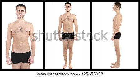 Snapshot of model. Handsome man isolated on white - stock photo