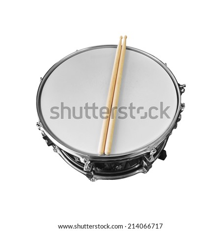 snare drum isolated on white background - stock photo
