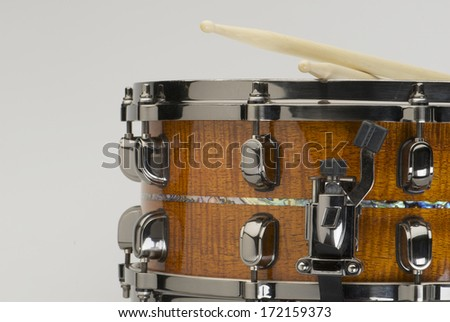 Snare Drum with Drumsticks - stock photo
