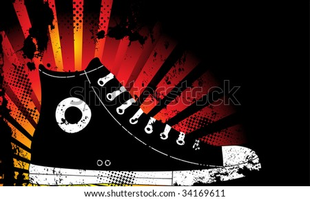 Sneaker Silhouette with Yellow and Orange grunge background - stock photo