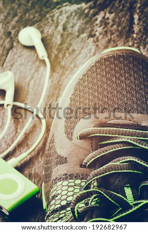 Sneakers closeup. Sport concept  - stock photo