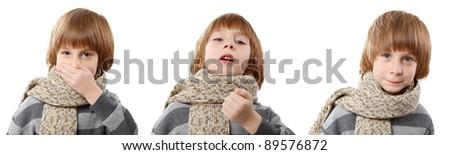 sneeze boy isolated on white background - stock photo