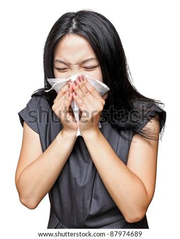 sneeze girl - stock photo