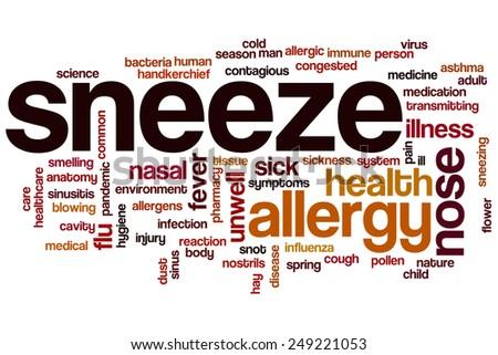 Sneeze word cloud concept - stock photo