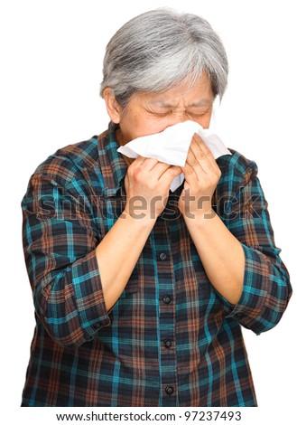sneezing woman - stock photo