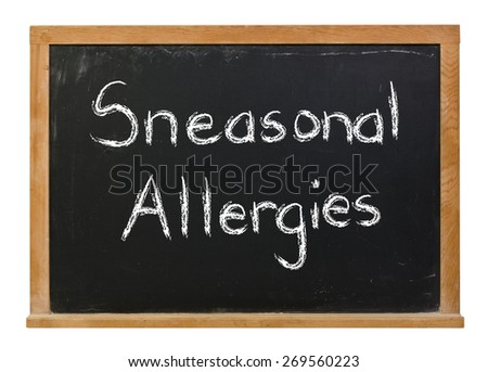 Sneezonal Allergies written in white chalk on a black chalkboard isolated on white - stock photo