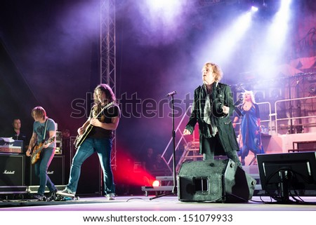 SNINA, SLOVAKIA - AUGUST 8: Performance of Avantasia project on music festival Rock pod Kamenom in Snina, Slovakia on August 8, 2013 - stock photo