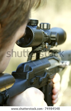Sniper aiming - stock photo