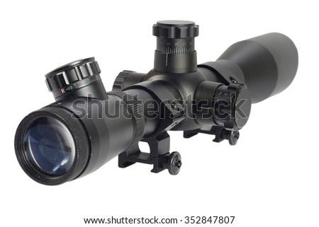 sniper scope isolated on white - stock photo