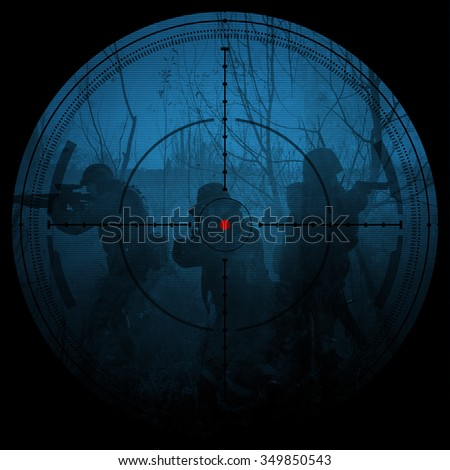 Sniper scope. Night vision.illustration.night mission/operation hostage rescue.view through the night vision scope - stock photo