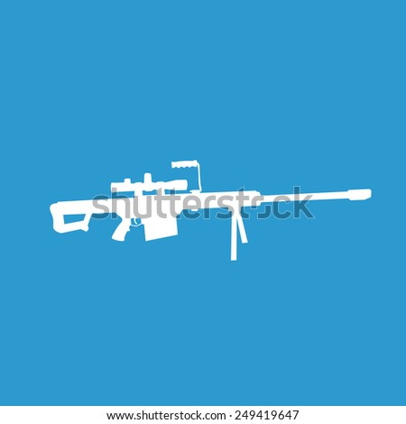 sniper weapon icon, isolated, white on the blue background. Exclusive Symbols  - stock photo