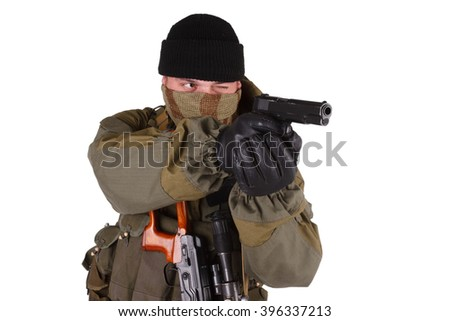 sniper with handgun and SVD sniper rifle isolated on white background - stock photo