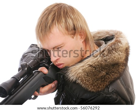 Sniper with rifle aims, isolated on white background. - stock photo