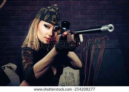 Sniper woman - stock photo