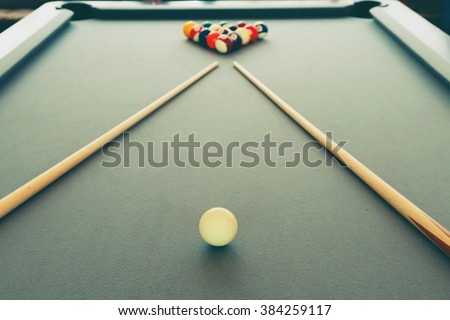 Snooker billiard pool table with balls set, selective focus and vintage photo - stock photo