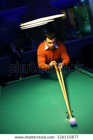 Snooker player - stock photo