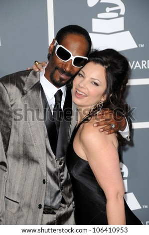 Snoop Dogg and Fran Drescher at the 51st Annual GRAMMY Awards. Staples Center, Los Angeles, CA. 02-08-09 - stock photo