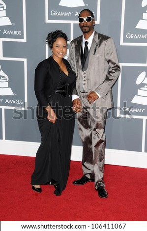Snoop Dogg and wife Shante at the 51st Annual GRAMMY Awards. Staples Center, Los Angeles, CA. 02-08-09 - stock photo