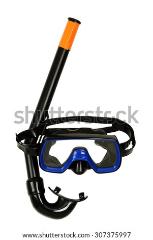 snorkel and diving mask isolated on white - stock photo