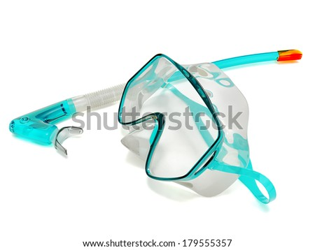 Snorkel and Mask for Diving isolated on white background - stock photo