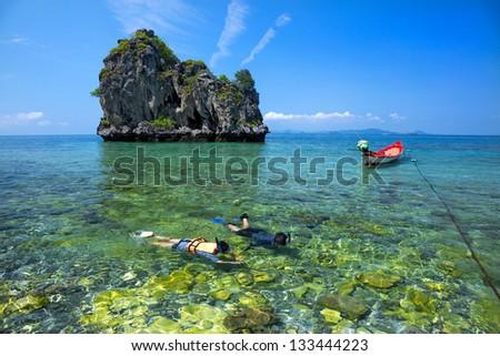 snorkeling. - stock photo