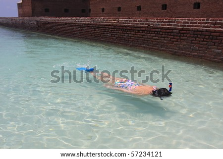 Snorkeling at Dry Tortugas National Park - stock photo