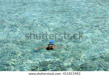 snorkeling at Maldives - stock photo
