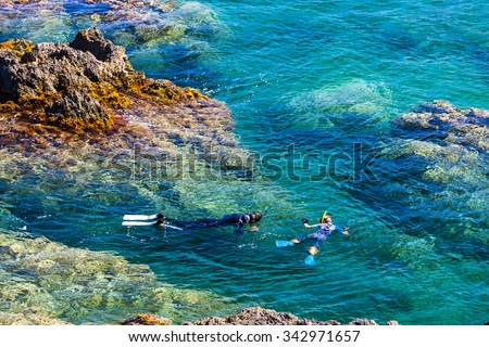 snorkeling, Cap de Peyrefite, Languedoc-Roussillon, France - stock photo
