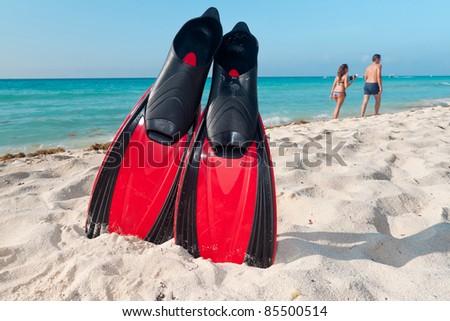 Snorkeling equipment at the Caribbean Sea - stock photo