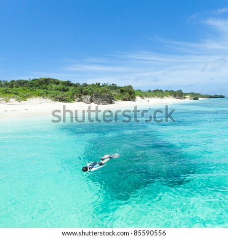 Snorkeling in crystal clear blue water of a coral lagoon around a tropical island, Okinawa, Japan - stock photo