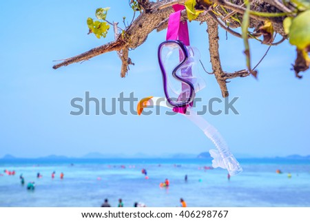 Snorkeling set Beautiful sea view wallpaper Enjoyed a relaxing summer vacation concept. - stock photo