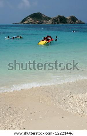 Snorkelling at Paradise Beach, Japan - stock photo