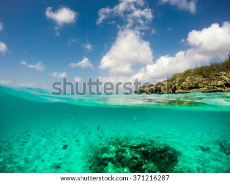 Snorkelling  in the ocean Views around Curacao a Caribbean Island - stock photo