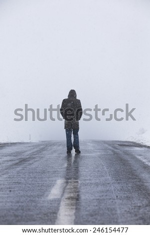 Snow and alone - stock photo