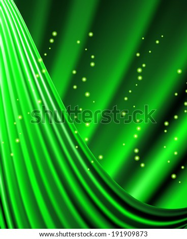 Snow and stars are falling on the background of green luminous rays. - stock photo