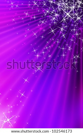 Snow and stars are falling on the background of purple luminous rays - stock photo