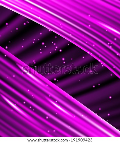 Snow and stars are falling on the background of purple  luminous rays. - stock photo