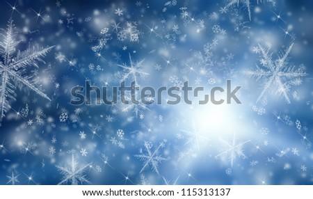Snow background - stock photo