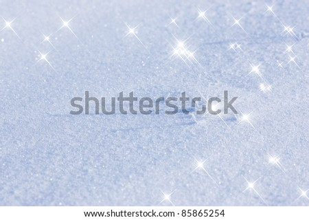 snow background with stars - stock photo