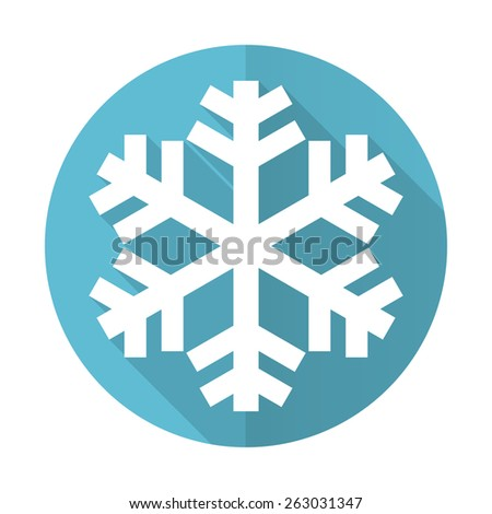 snow blue flat icon air conditioning sign  - stock photo