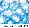 Snow Blue Winter Bokeh Background - stock photo