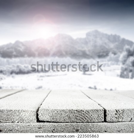 snow board and mountains  - stock photo