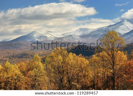 Snow capped Mountains and Autumn colors, Gatlinburg, Tennessee USA - stock photo