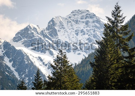 Snow Capped Mountains at North Cascades National Park - stock photo