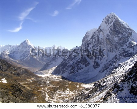 Snow capped peaks in the Himalaya, Nepal. - stock photo
