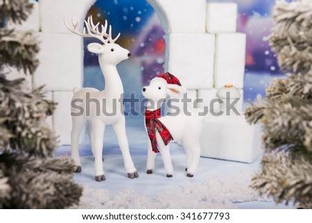 Snow castle in a freezing cold. Christmas playground - stock photo